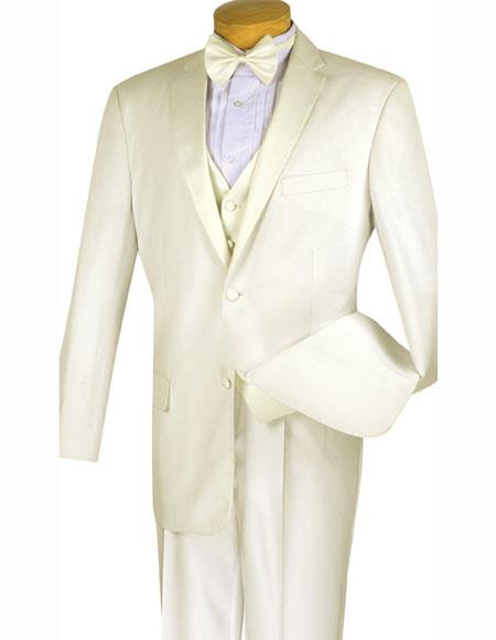 Product# JSM-1556 Men's 2 Buttons Ivory ~ Cream ~ Off White 4pc With Vest And Bow Tie Pleated Pants Tuxed