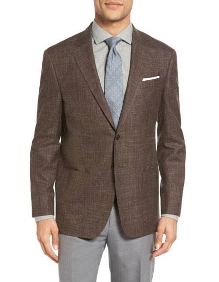 Product# JSM-4276 Men's Sportcoat Two Buttons Single Breasted Wool Blend & Men's 2 Piece Linen Causal Outfits Dark Brown Slim Fit Blazer / Beach Wedding Attire For Groom