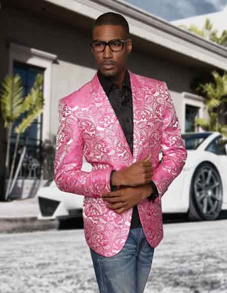 Sequin Paisley Colorful Stage / Prom / Entertainer Fashion Fuschia Sport Coat Blazer Jacket Perfect For Prom Clothe - Prom Outfits For Guys