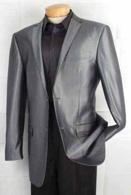 Fashion 2 Button Style Unique Shiny Fashion Prom sharkskin Fabric Sport Coat Gray  Perfect For Prom Clothe - Prom Outfits For Guys