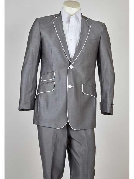 White Trim Notch Lapel 2 Button Style Gray Slim narrow Style Fit Single Breasted Suit