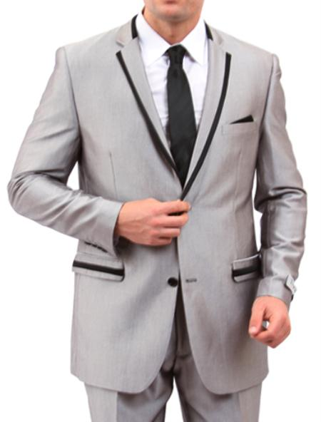 2 Button Style Front Closure Slim narrow Style Fit Suit Grey