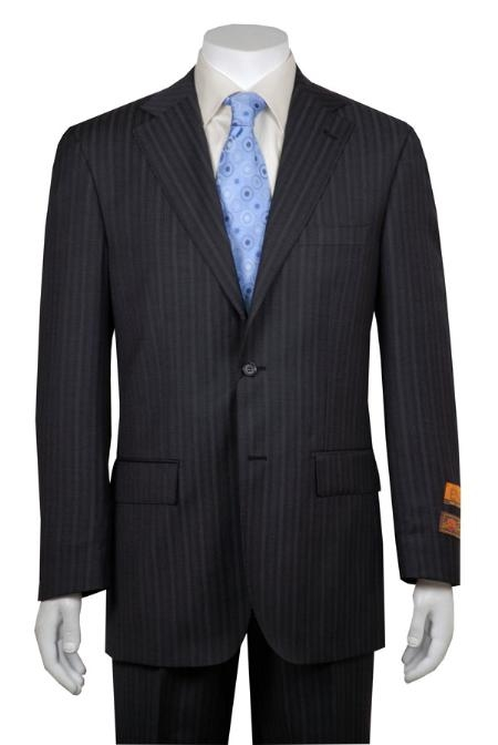 Gray and Shadow Stripe ~ Pinstripe 2 Button Style Vented without pleat flat front Pant Wool Fabric Suit