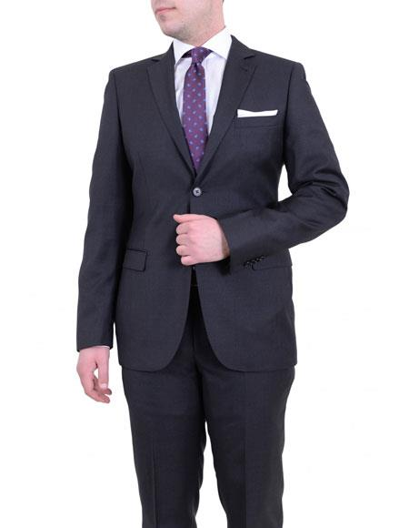 Product# JSM-6173 Mens Solid Gray Single Breasted 2 Buttons Slim Fit Wool Notch Lapel Suit