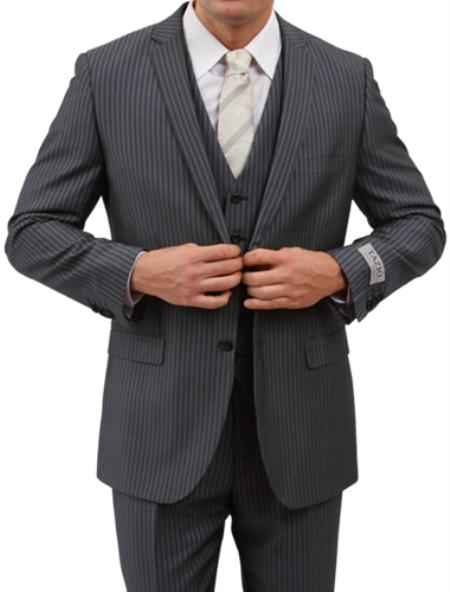 2 Button Style Front Closure Grey Pinstripe Slim narrow Style Fit Suit