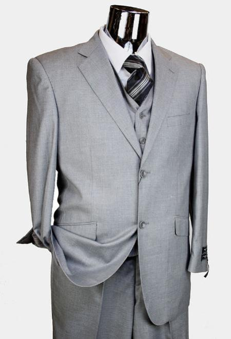 Product# KA5176 Light Grey 3 Piece 2 Button Style single Pleated Slacks pants three piece suit