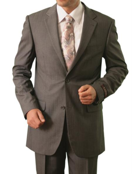 2 Button Style Front Closure Notch Lapel Suit Grey