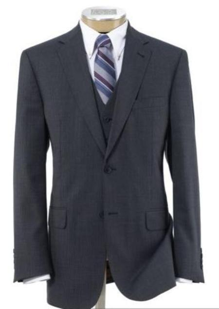 Mens Three Piece Suit - Vested Suit 2 Button Style Wool Fabric Vested three piece suit with Pleated Slacks Trousers Grey