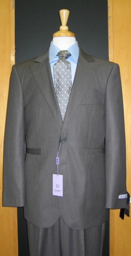 2 Button Style Grey Silk Blend Custom Flat Front Center Vented Suit