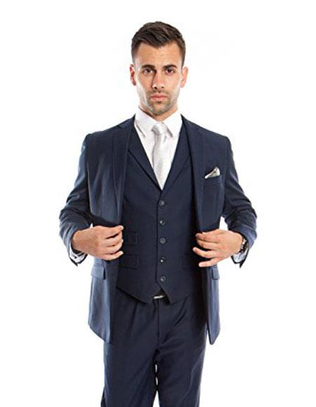 Product# M231S Mens Slim Vested Suits Ink Blue ~ Midnight ~ 1 Shade Lighter Navy Blue Groomsmen