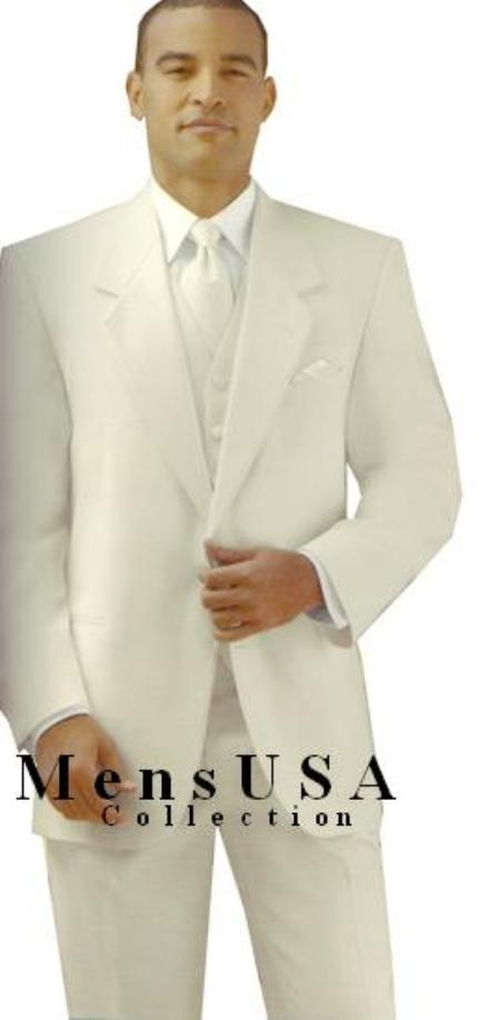 Product# Y724GA Ivory/Off White/Cream 2 Button Style jacket Notch Lapel Tuxedo single breasted non-vented back