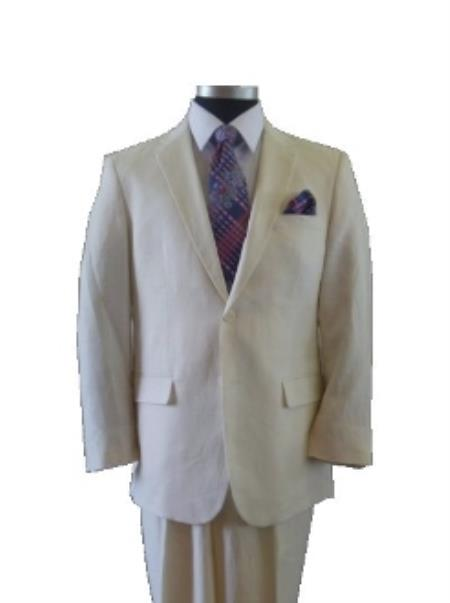 2 Button Style Ivory ~ Off White Cream Linen Suit
