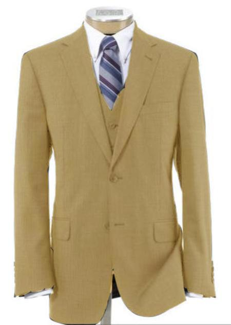 Men's 2 Button Style Wool Fabric Vested Camel ~ Khaki~British Khaki~Bronze Suit with Pleated Slacks Trousers