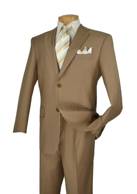 D62T_2TR-KHK89 Poly-rayon Executive Pure Solid Khaki Athletic Cut Suits Classic Fit  Notch Collar Pleated Slacks Pants