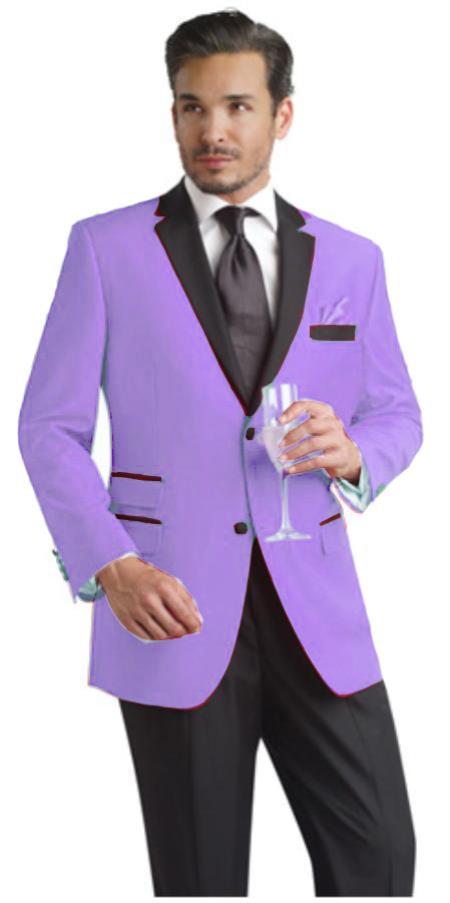 Product# VXZ99 Lavender Two Button Notch Party Suit & Tuxedo & Blazer Online Sale w/ Liquid Jet Black Lapel