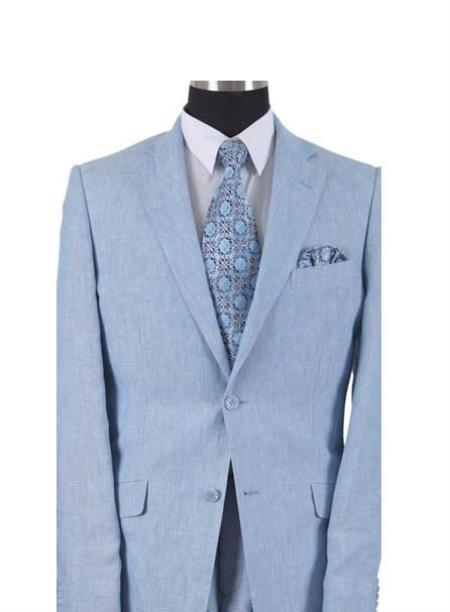 Product# AA558 Linen Summer Suit or Blazer Online Sale or Sportcoat 2 Button Style With Elbow Patch sleeve Light Blue