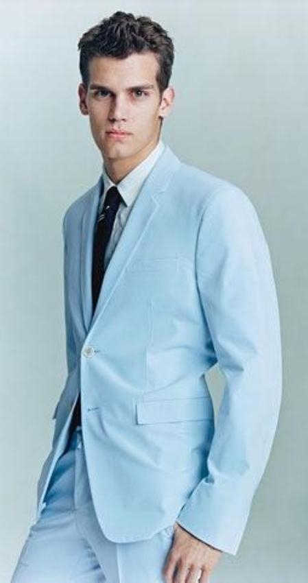 AS523 2 Button Style Light Blue ~ Sky Blue (Powder blue) Suit