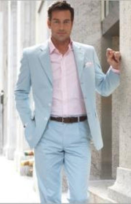 PG14 2 Button Style Light Blue ~ Sky Blue (Powder Blue) Suit