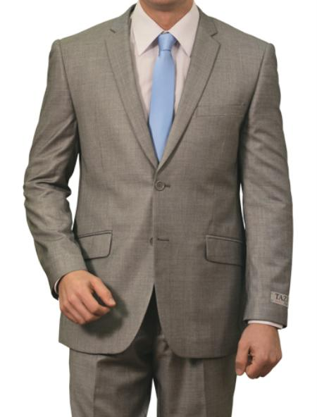 2 Button Style Front Closure Slim narrow Style Fit Suit Light Grey