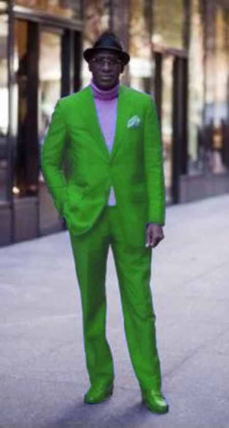 Green Mens Suit, Slim suits, Lime shirts, Men suit silver