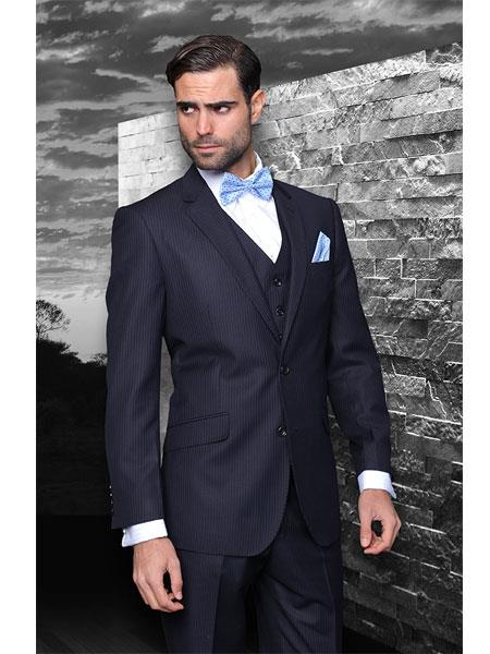 Style# Classic 3pc 2 Button Style Navy Blue Shade Stripe ~ Pinstripe Athletic Cut Suits Classic Fit Superior Fabric 150's Extra Fine Italian Fabric