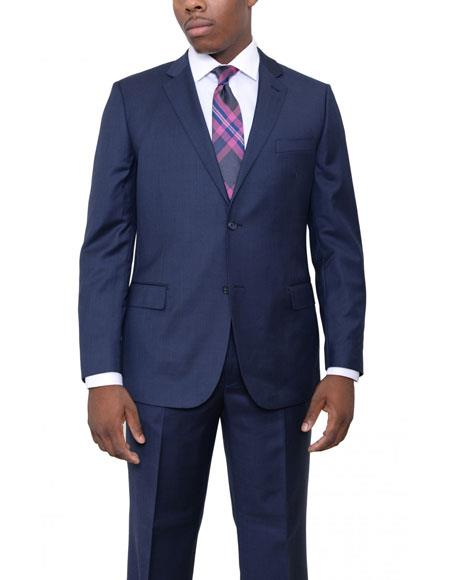 Product# JSM-6164 Mens 2 Buttons Single Breasted Solid Navy Blue Wool Suit Flat Front Pants