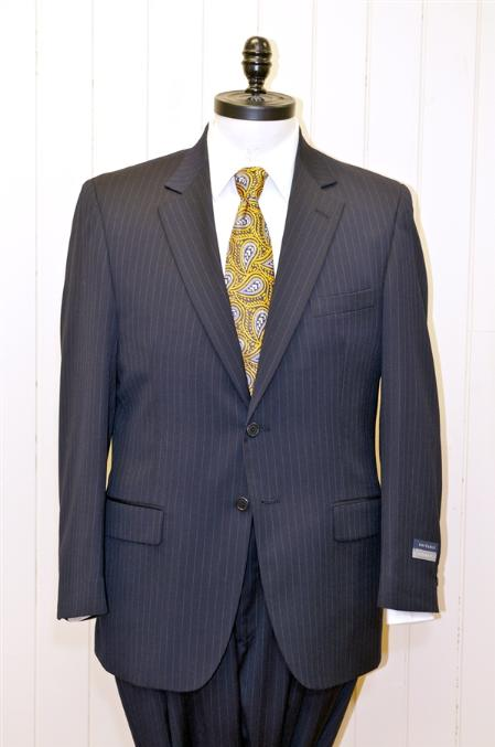 Product# HF8300 Big & Tall XL 2 Button Style Single Breasted Wool Fabric Suit Navy Blue Shade Stripe ~ Pinstripe