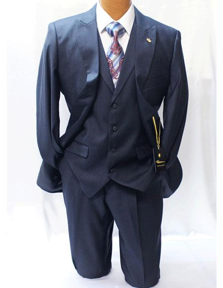 Product# JSM-3778 Men's Falcone 2 Buttons Navy Blue Style Classic Fit Vested Suits with Pleated Pants