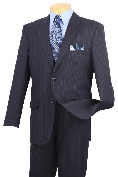 Product# NMA82 Notch Collar Pleated Slacks Pants Executive Classic Stripe ~ Pinstripe Navy Blue Shade Athletic Cut Suits Classic Fit  2RS-16