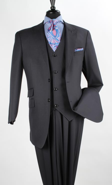 Product# QVW19 3 Piece Wool Fabric Blend Fashion three piece suit - Single Breasted Vest Navy