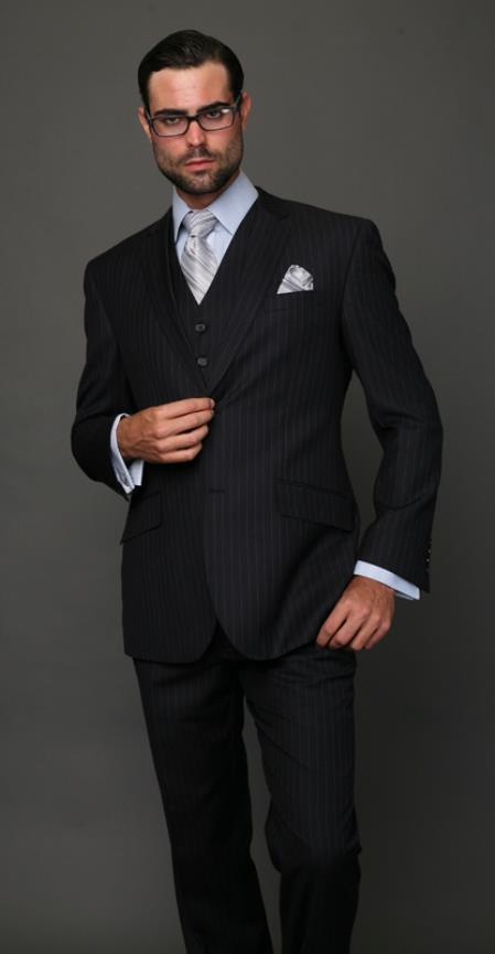 Product# RCH5 Classic 3PC 2 Button Style Navy Pinstripe three piece suit Superior Fabric 150's Extra Fine Italian Fabric