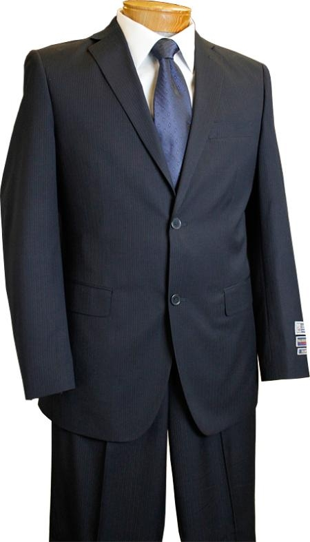 2 Button Style Slim narrow Style Fit Navy Pinstripe affordable suit Online Sale