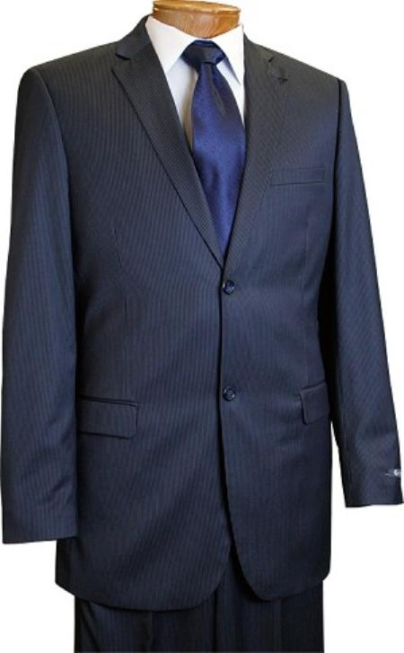 2 Button Style Slim narrow Style Cut Navy Pinstripe Suit Navy