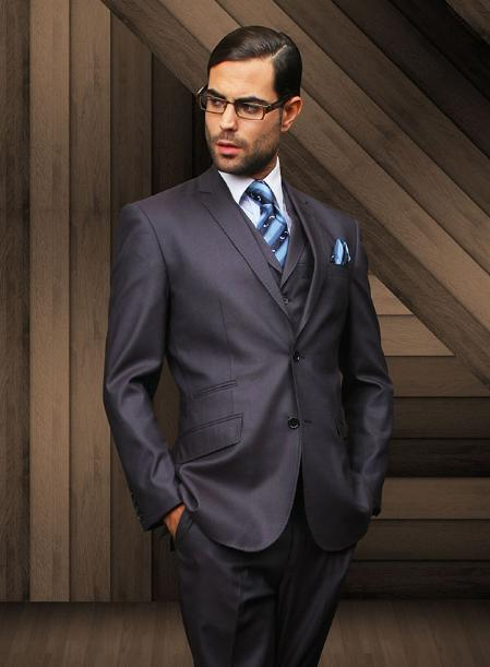 Product# NYV7913 Slim narrow Style 2 Button Style Navy Vested Suit Comes With Free Shirt & Tie