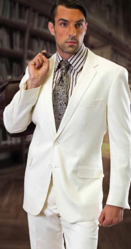 Extra Slim Fit Suit CLASSIC Slim narrow Style FIT 2 PIECE 2 Button Style OFFWHITE SUIT BY TZARELLI . Superior Fabric 150'S EXTRA FINE ITALIAN FABRIC