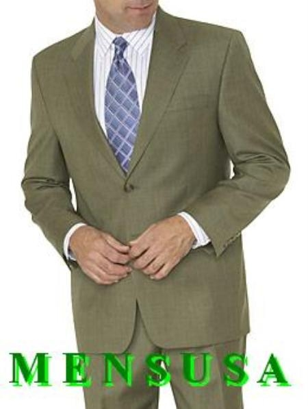 Olive Green ~ Hunter Green 2 Button Style Dress Business Suits for Online poly~rayon