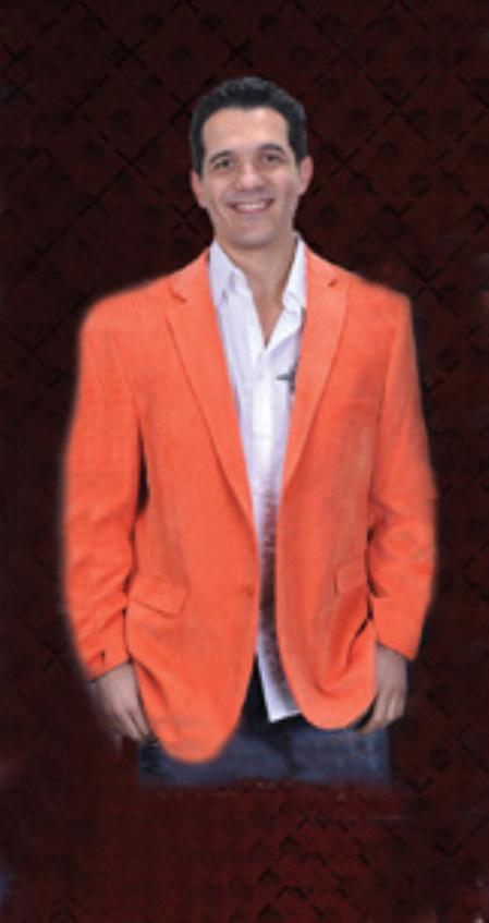 Cotton/Rayon 2 Button Style Orange Sport Coat Notch Lapel Side Vents