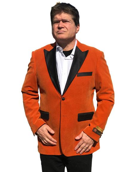 Product# AP582 Alberto Nardoni Best Mens Italian Suits Brands Orange Velvet Tuxedo Velour Blazer Sport Coat Jacket Available Big Sizes