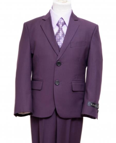 Product# PN-70 2 Button Style Front Closure Kids Boys Dress Formal Boys And Men Suit Set perfect for wedding For Teenagers Very Dark Purple color shade