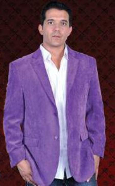 2 Button Style Sport Coat Notch Lapel Side Vents Purple color shade