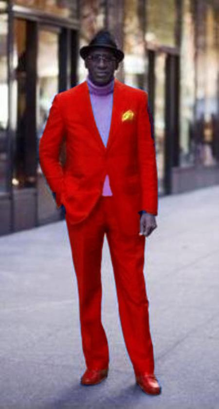 Product# red color shade721 Discounted Jacket and Pleated Slacks Pants 2 Button Style Suit Hot red color shade