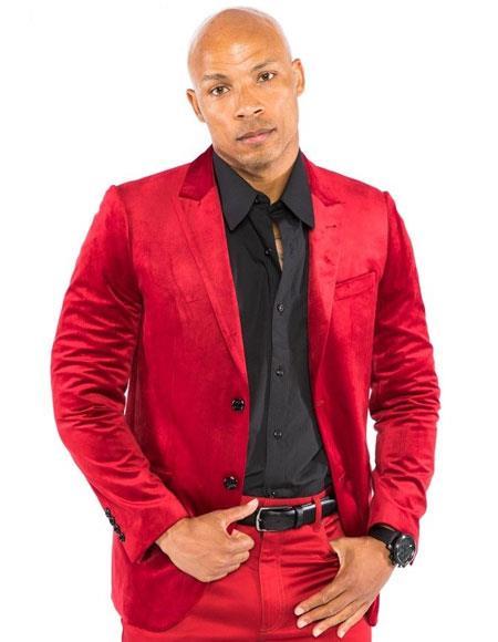 Product# CH1679 Mens Red Velvet Suit & Blazer Sport Coat + Pants