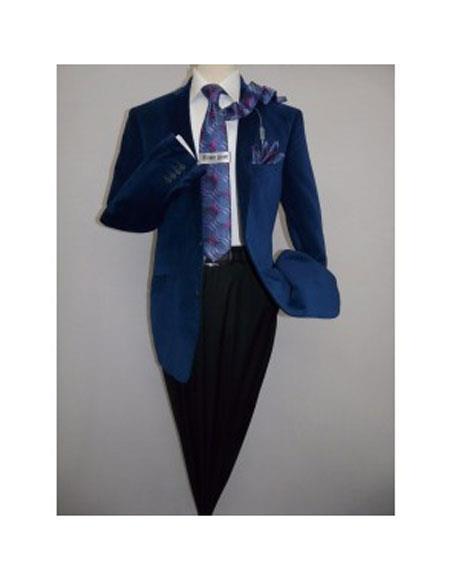 Product# JSM-5056 Mens 2 Buttons Modern Fit Notch Lapel Velvet Blazer