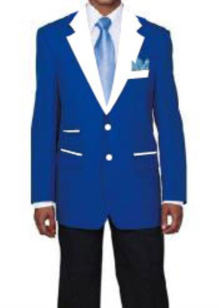 men's 2 Buttons Royal Blue Suit For Men Perfect  and White Lapel Tuxedo Suit Single Breasted Blazer