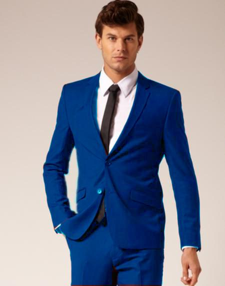 Product# RYB902 2 Button Style Jacket Suit & Plus Pants royal blue pastel color ( Light Blue ) Notch Collar