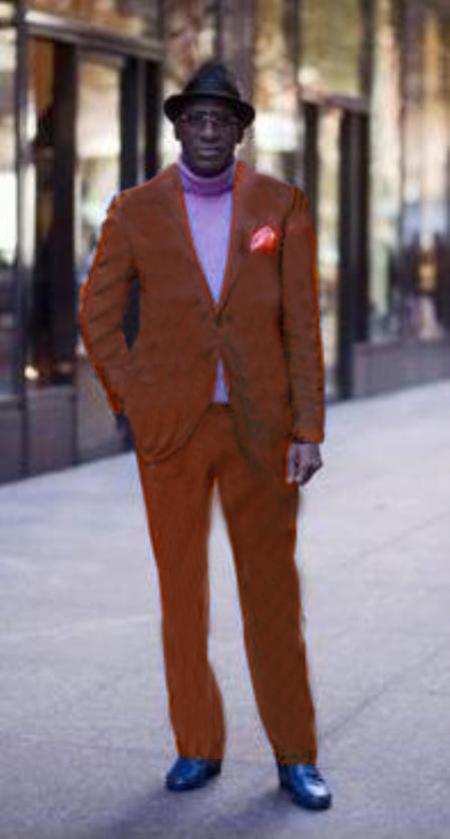 Product# CPR913Classic Ultra Smooth 2 Button Style Wool Fabric & Cotton Suit Copper ~ Rust