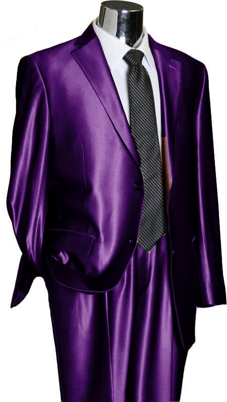 PRL22 Utex Shiny 2 Button Style Purple color shade TNT Sharkskin Suit
