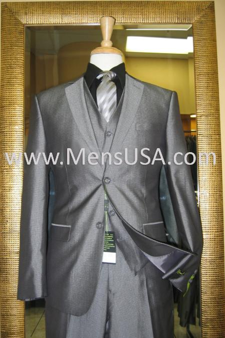 2 Button Style 3 Piece Silver Shiny Slim narrow Style Fit Suit