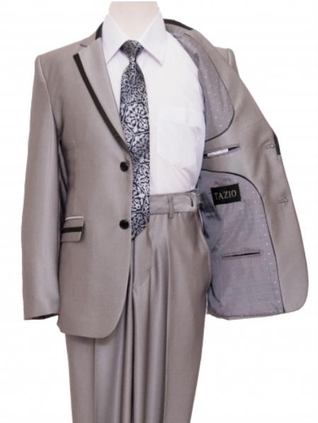 2 Button Style Front Closure Kids Boys Dress Formal Boys And Men Suit Set perfect for wedding For Teenagers Silver