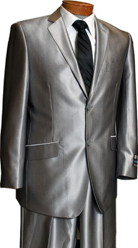 Product# LX8201 Sateen Metallic Bight 2 Button Style Silver Slim narrow Style Fit Shark Skin Suit Tuxedo looking
